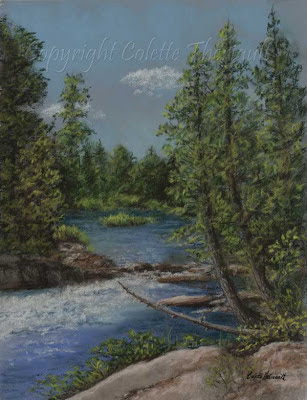 pastel landscape painting of river by Colette Theriault