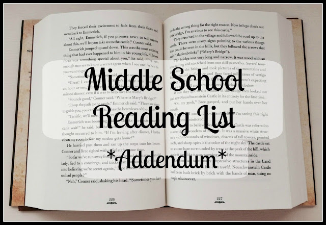 Unexpected Homeschool: Middle School Reading List Addendum
