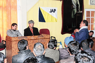Mahendra P Lama and Amar Lama meet supporters of Jan Andolan Party in Darjeeling