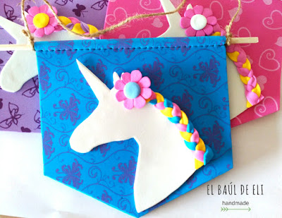 banderin, unicornio, goma eva