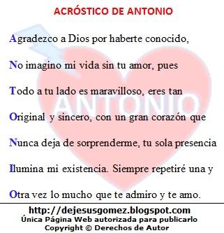 Imagen con el acróstico del nombre Antonio hecho por Jesus Gómez