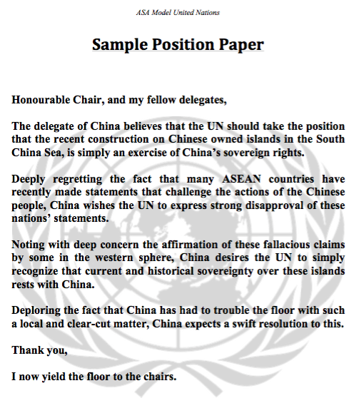 model united nations sample policy statement