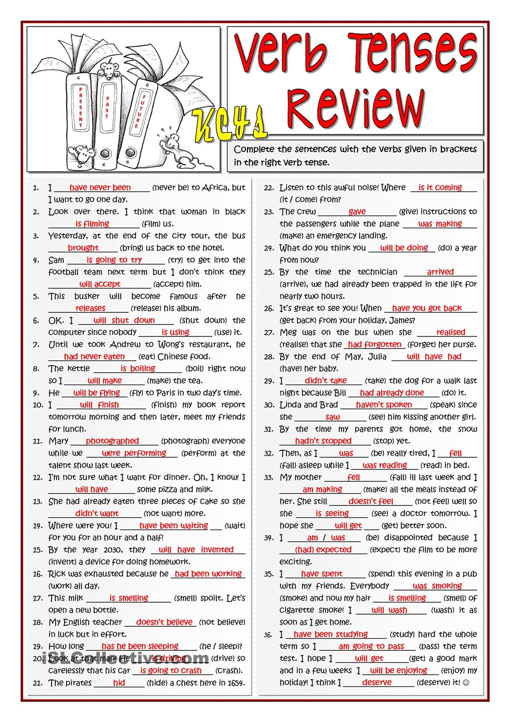 English Honori Garcia B1 VERB TENSES REVIEW – Verb Tense Worksheets High School