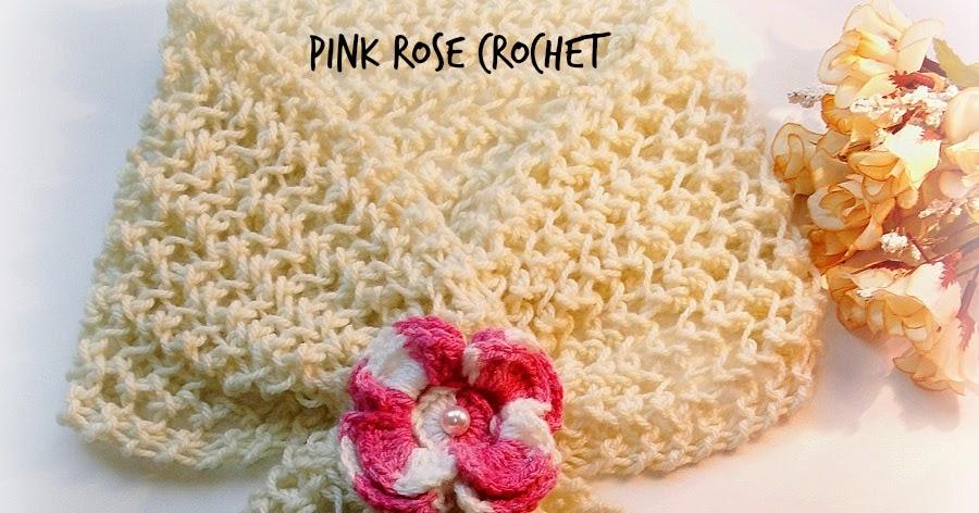 Cachecol com Flor Pink Tricot e Crochê