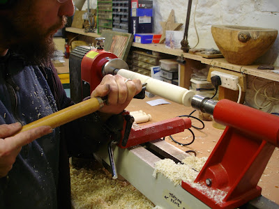 woodturning on an electric lathe