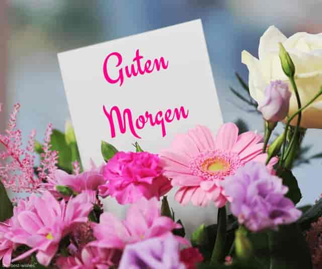 good morning in german with bouquet