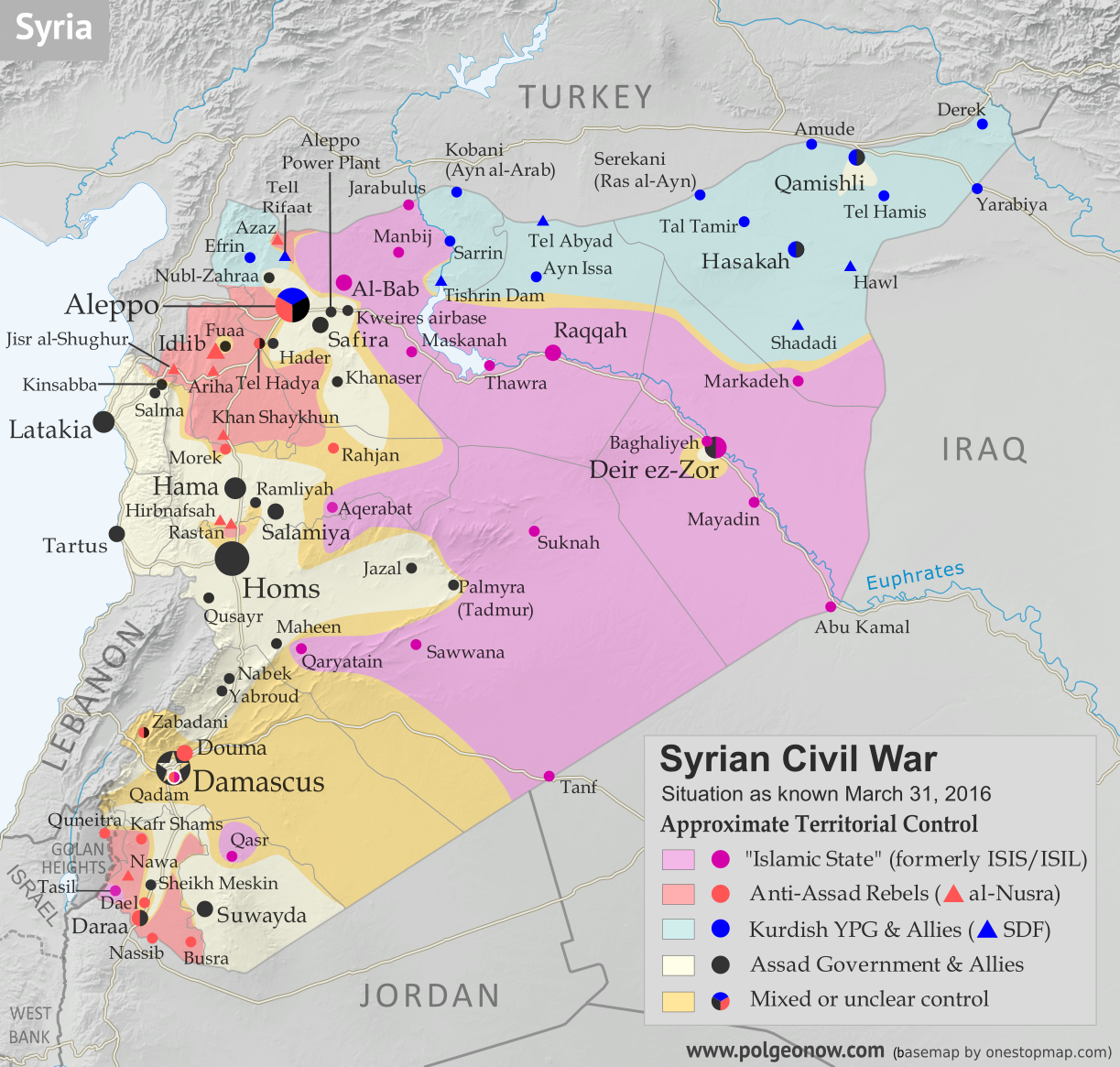 Map of fighting and territorial control in Syria's Civil War (Free Syrian Army rebels, Kurdish YPG, Syrian Democratic Forces (SDF), Al-Nusra Front, Islamic State (ISIS/ISIL), and others), updated for the beginning of April 2016. Now includes terrain and major roads (highways). Highlights recent locations of conflict and territorial control changes, including Palmyra, Qaryatayn, Deir Ez-Zor, and more. (Color blind accessible.)