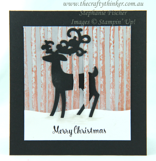 #thecraftythinker #stampinup  #cardmaking  #christmascard  #winterwoods  #dashingdeer , Winter Woods, Detailed Deer, Shimmer Paint, Christmas Card, Xmas Card, Stampin' Up Australia Demonstrator, Stephanie Fischer, Sydney NSW