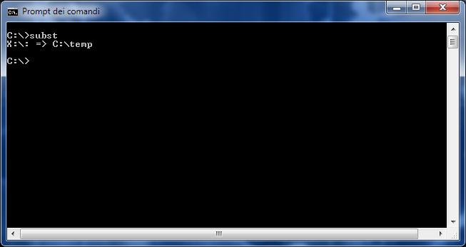 Subst, elenco unità virtuali definite