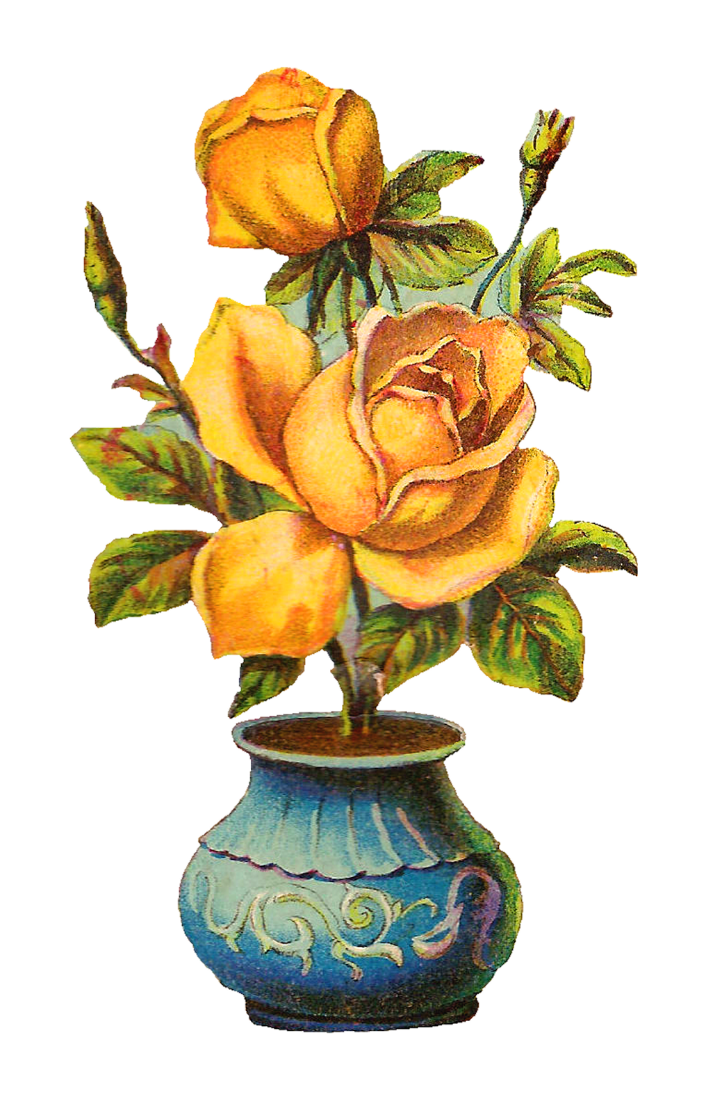 Antique Images: Vintage Botanical Yellow Rose Digital ...