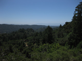 Distant view of Monterey Bay from summit of Rodeo Gulch Road, Soquel, CA