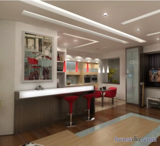 modern suspended ceiling systems for kitchen with integrated lighting