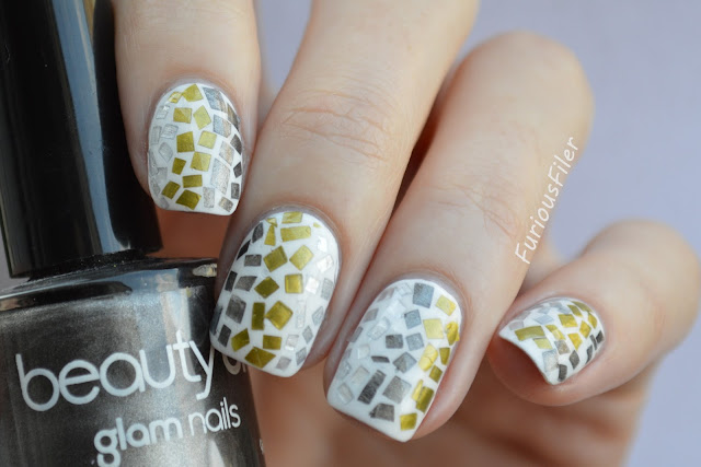 animal print snake chrome silver mosaic nails