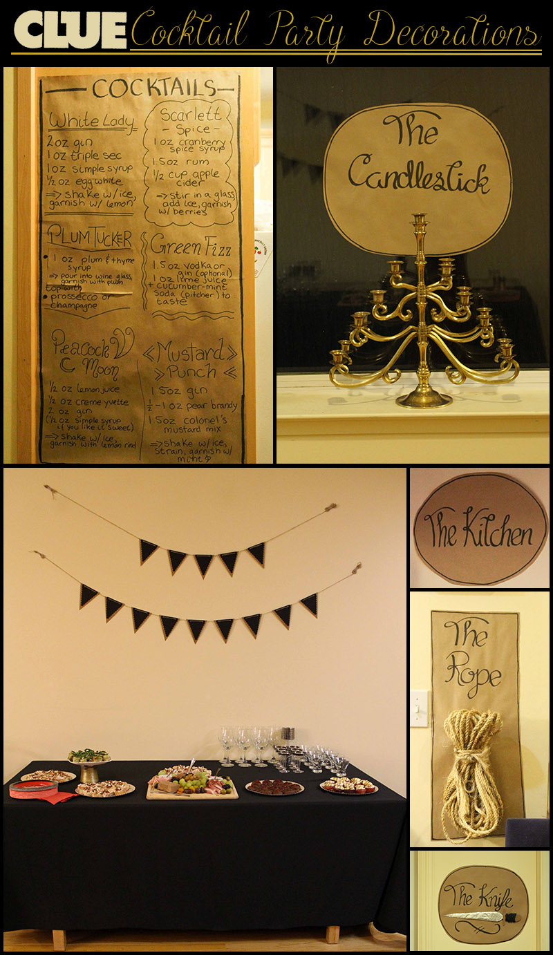 Decorations for a clue-themed cocktail party, with brown paper menus and signs, murder weapons, table setting