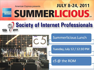 Summerlicious 2011: Society of Internet Professionals Lunch @ c5 (the ROM), poster