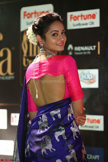 Shanvi Looks Super Cute in Pink Backless Choli Blue Saree at IIFA Utsavam Awards 2017 41.JPG