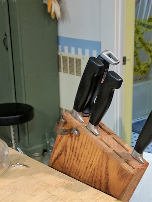 Knife Block attached to kitchen island, up position