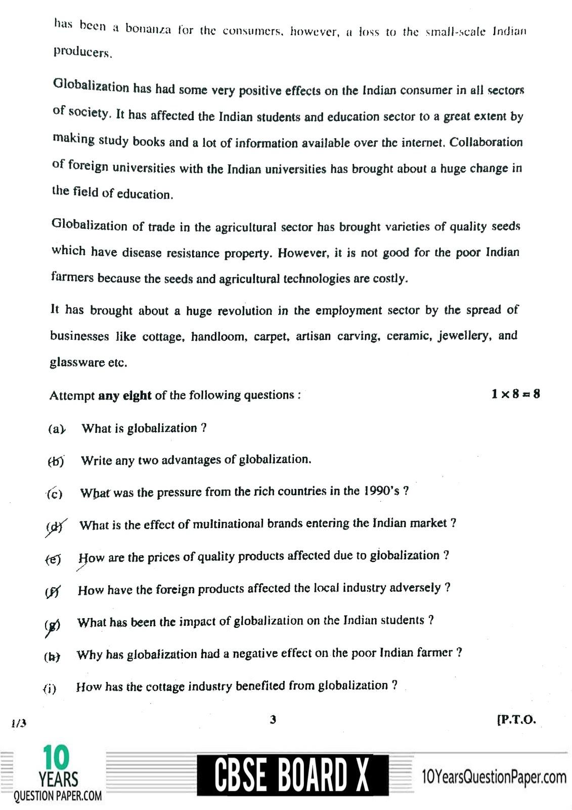 CBSE Board 2018 English Communicative Question paper Class 10 Page-03