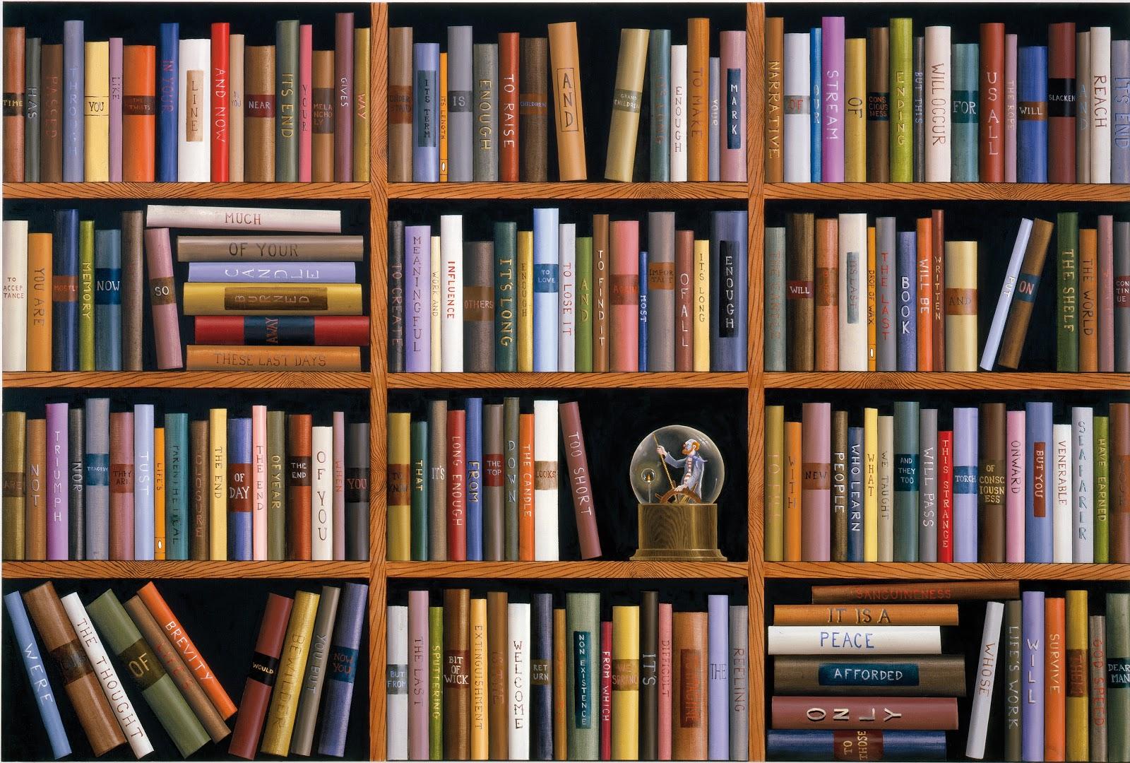 books shelves spencer painted oil filled paintings landers sean trompe oeil shelf alley janssen tchotchkes galerie brussels rodolphe 1962 linen