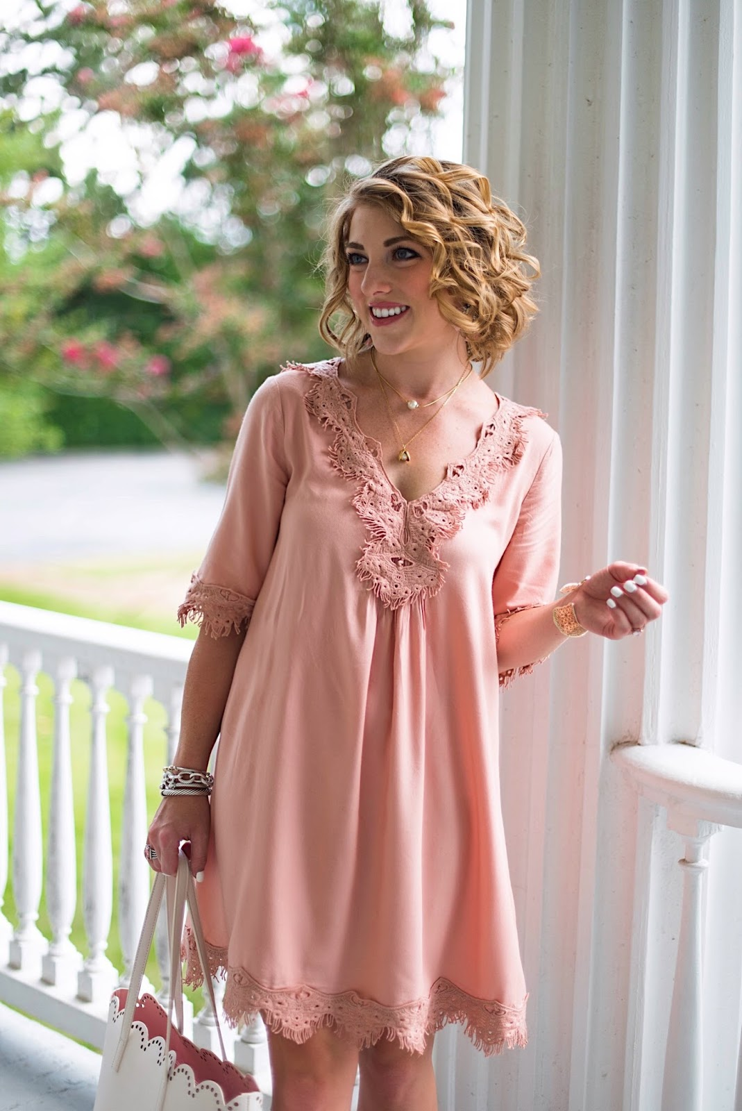 Lace Trim Dress - Click through to see more on Something Delightful Blog!