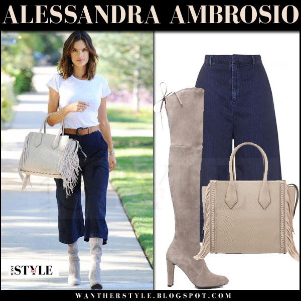 Alessandra Ambrosio in white tee, blue denim topshop culottes and suede boots what she wore model sprint style