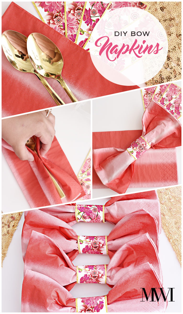These bow napkins will look beautiful on any tablescape. The blog post has the free printable napkin rings to make this exact bow. So cute!