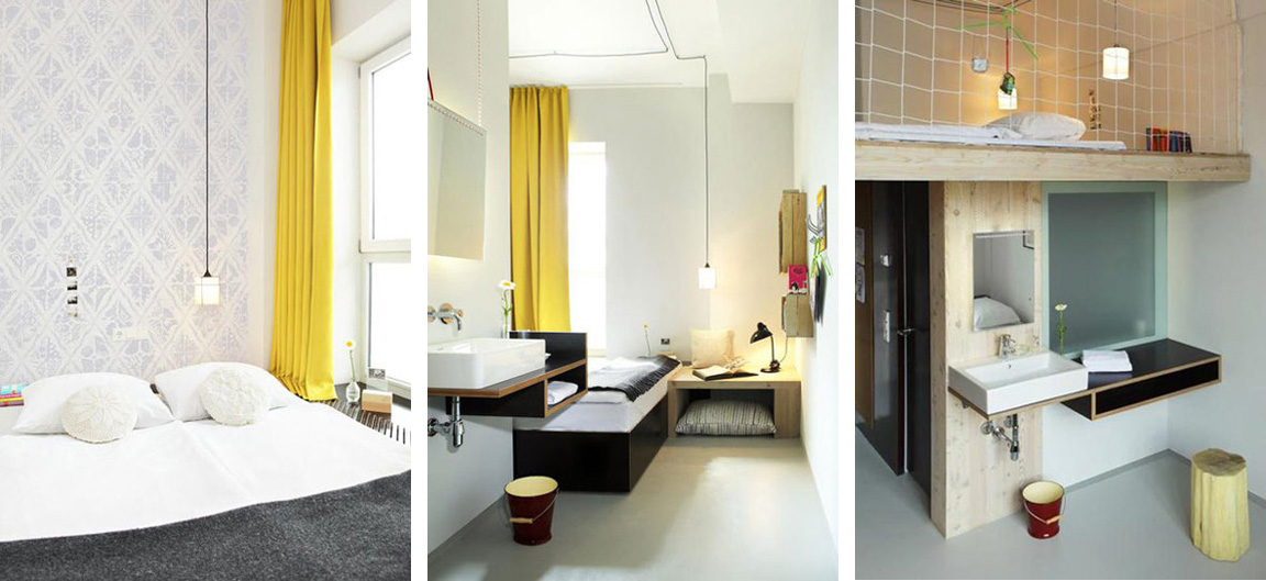 black white yellow michelberger hotel in berlin. Black Bedroom Furniture Sets. Home Design Ideas