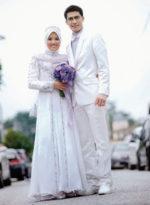 Gaun Pengantin Muslimah Couple Putih