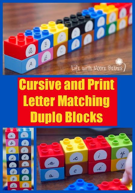 Cursive and Print Letter Matching Duplo Blocks