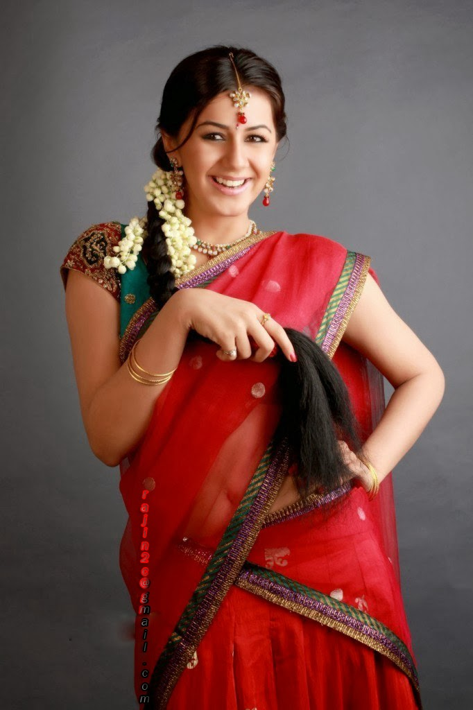 Model Long Hair Stills In Red Saree Nikki Galrani