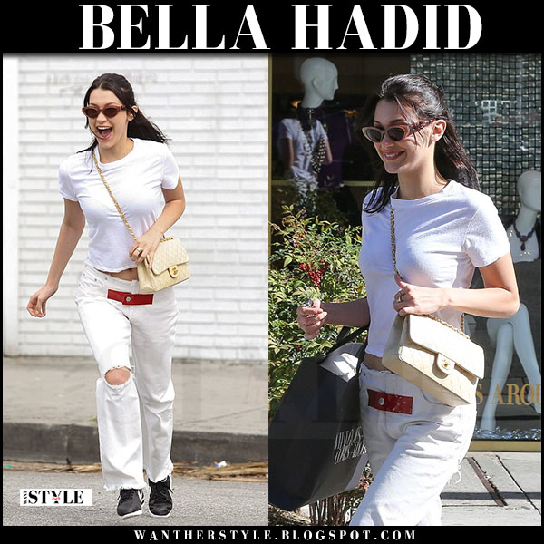 Bella Hadid in white re/done tee, white jeans alyx and black nike sneakers what she wore march 2017