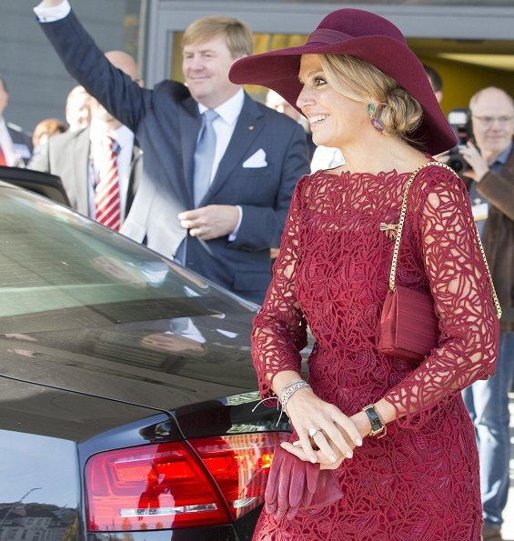Queen Maxima wore Natan red lace dress and red Natan pumps for Völklinger Ironworks and University Medical Centre visit