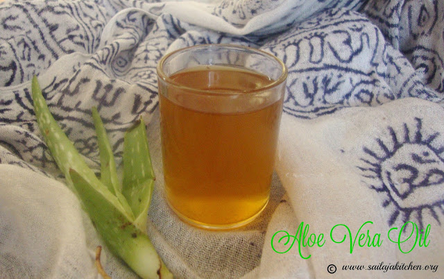 images of Homemade Aloe Vera Oil / Prepare Aloe Vera Oil At Home / Sothu Kathalai Yennai