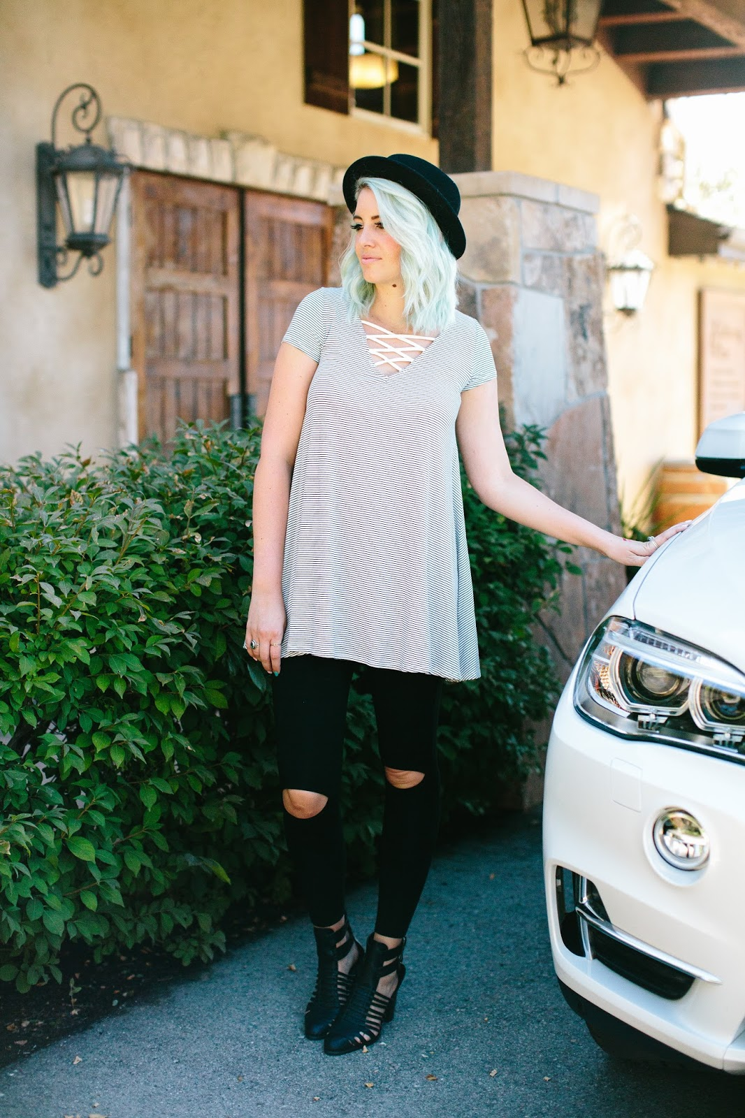 Blue Hair, Striped Top, Utah Fashion Blogger