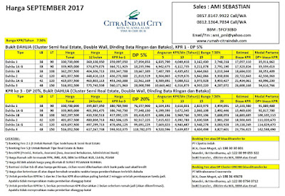 Harga Bukit DAHLIA Citra Indah City September 2017
