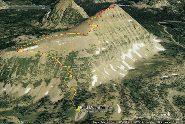 Trail map for Bald Mountain in the Uintas