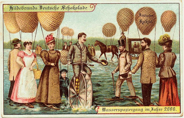 Strolling on a lake with the aid of balloons.