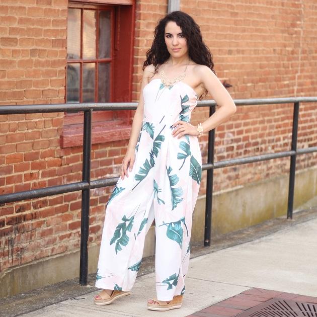 White Tropical Print Jumpsuit