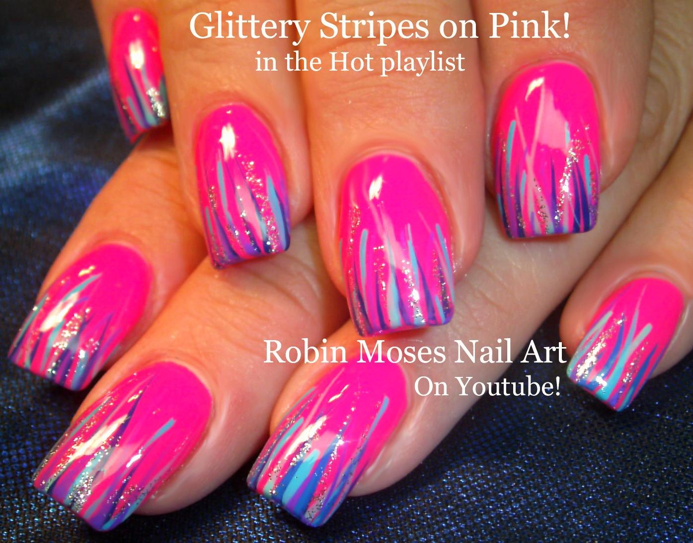 Nail Art By Robin Moses Easy Neon Pink Summer Nails Up