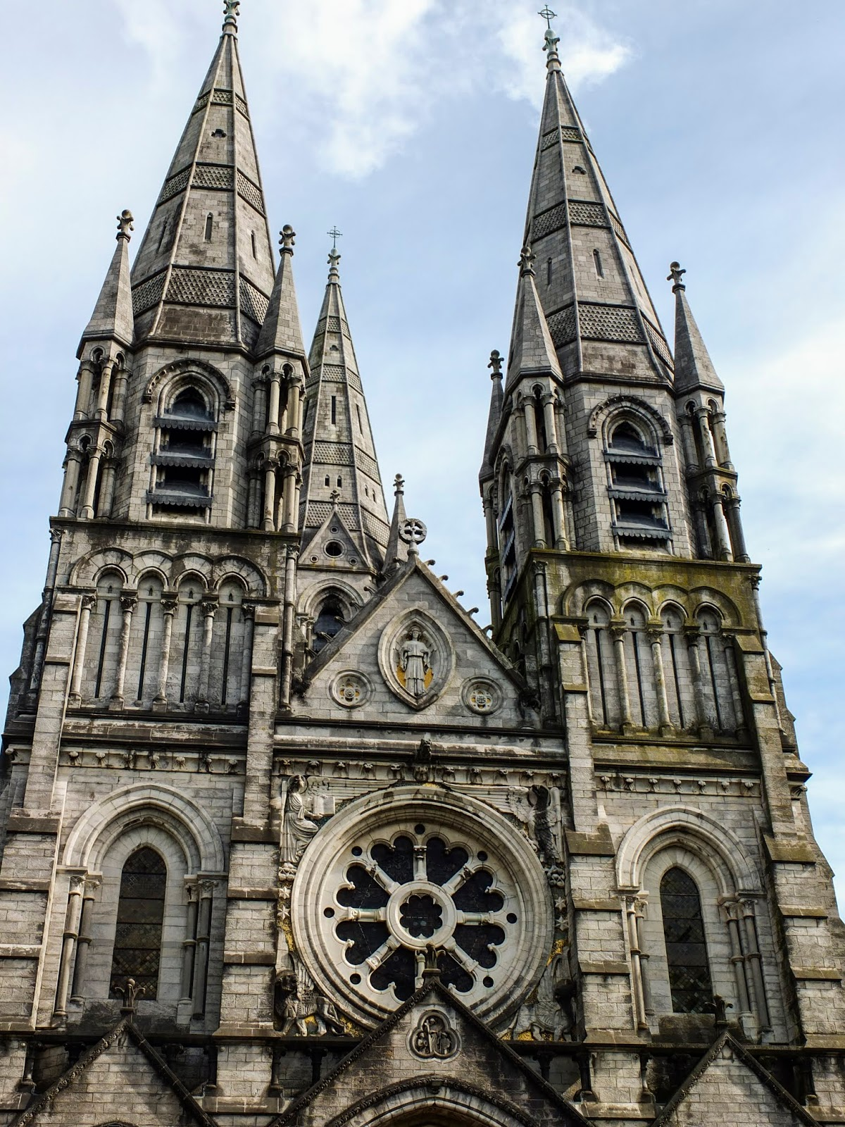 View of the front of the Saint Fin Barre's Cathedral in Cork City.