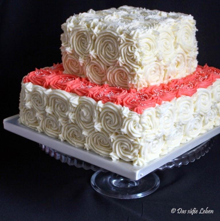 Rezept Hochzeitstorte Mit Roschen Aus Frischkasefrosting Das Susse