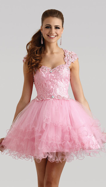 Sweetheart Layered Tulle Skirt Short Pink Prom Dress For Valentine's Day