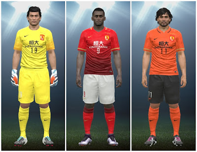 PES 2016 Guangzhou Evergrande 2016/17 kits by IDK