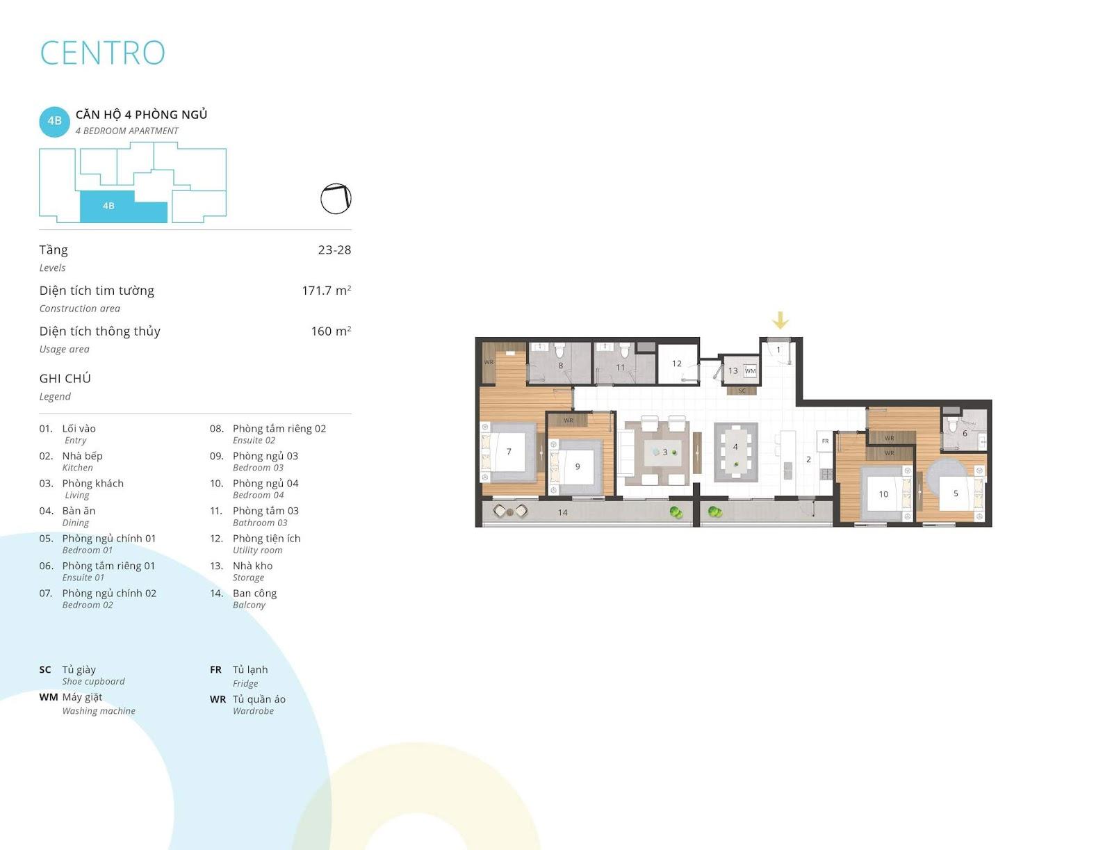 Mặt bằng căn hộ 4 phòng ngủ 160 m2 thông thủy tòa CENTRO