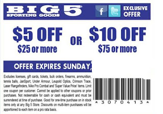 photo about Big 5 Printable Coupons called Substantial 5 wearing products coupon : House items coupon printable
