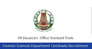 Forensic Sciences Department Tamilnadu Recruitment 2018