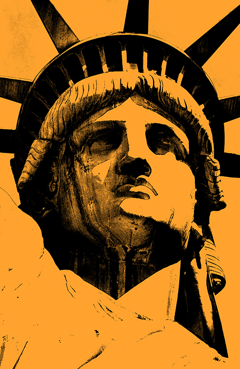 lady liberty illustration statue of liberty vector new york city por art graphic design art photoshop inkscape free estatua de la libertad nueva dibujo drawing estilo andy warhol style colors naranja orange colores color