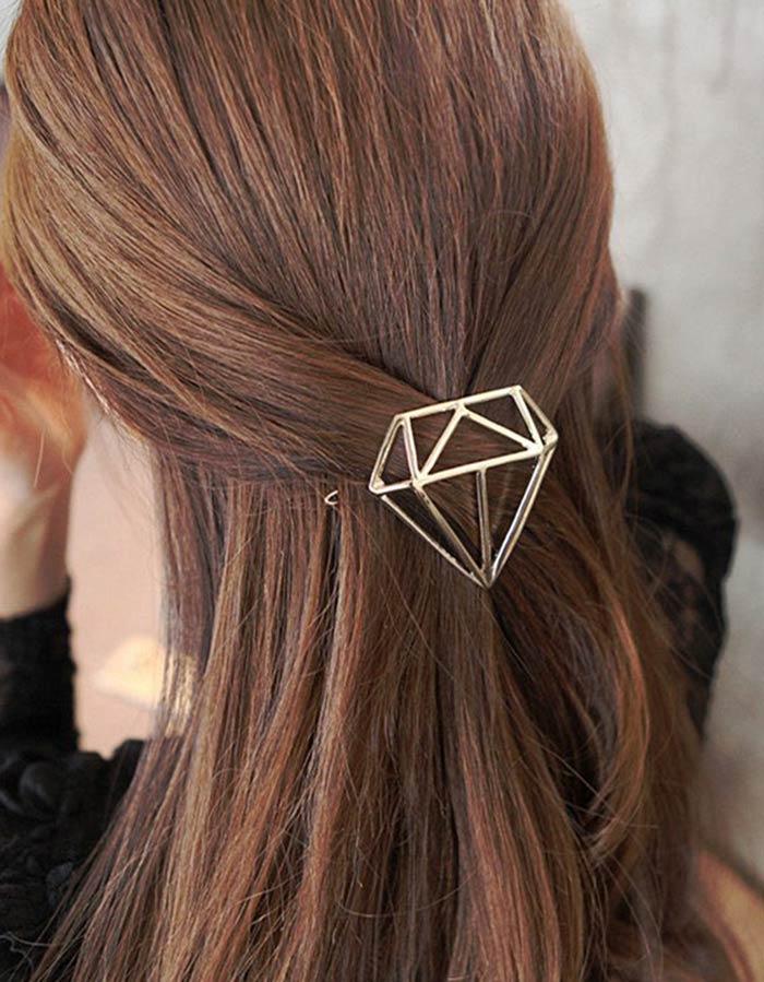 Acessório geométrico metálico para cabelo