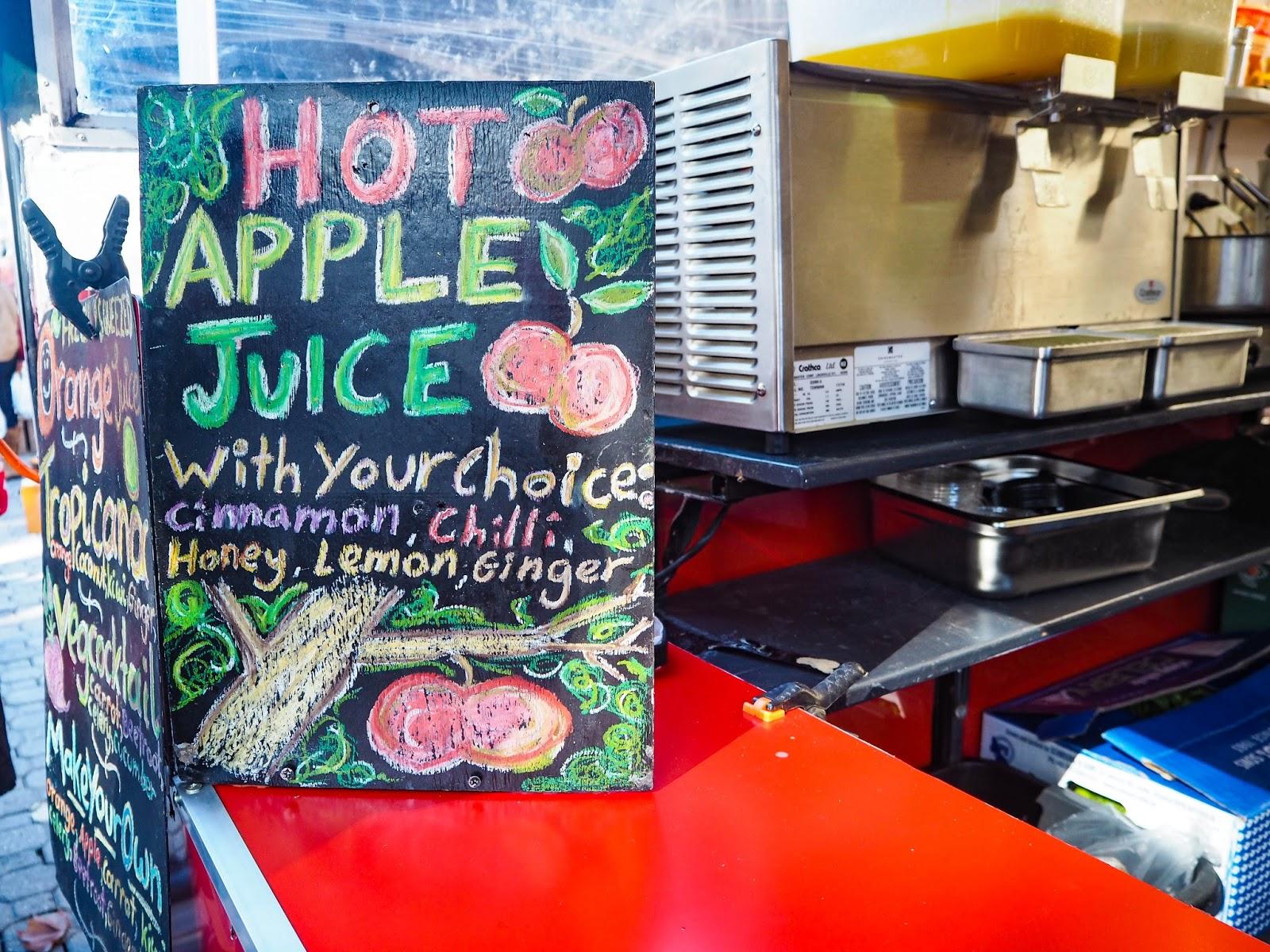 Hot apple juice sign