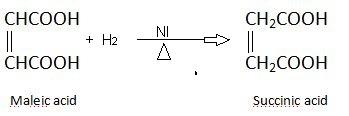 Succinic acid preparation by maleic acid.